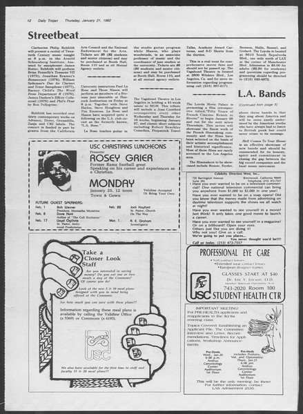 Daily Trojan, Vol. 91, No. 8, January 21, 1982