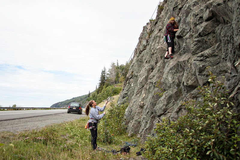 August 8, 2012. Day 215.  I'm excited about this photo, because it's a self portrait of me climbing, and my camera isn't attached to me.   Forget that I'm toproping a 5.6 on the highway. I'm still excited.  Shot Rock, Seward Highway, Alaska