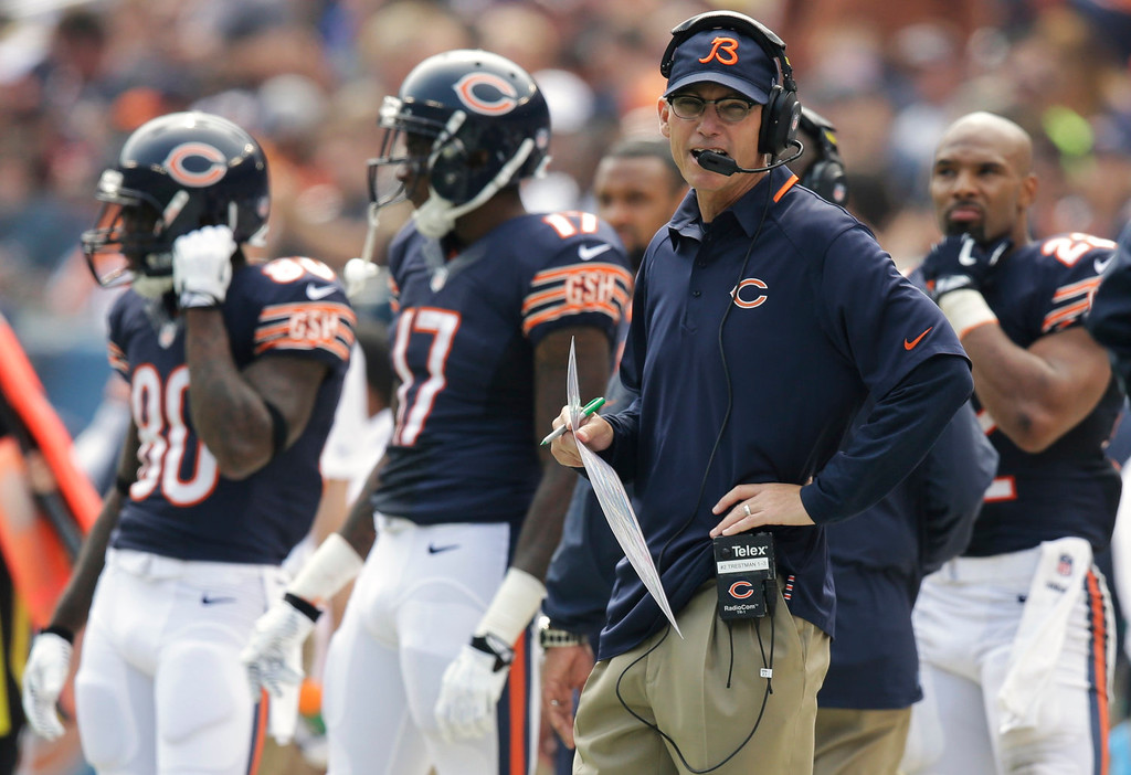 . Chicago Bears coach Marc Trestman watches the team\'s NFL football game against the Cincinnati Bengals during the first half, Sunday, Sept. 8, 2013, in Chicago. (AP Photo/Nam Y. Huh)