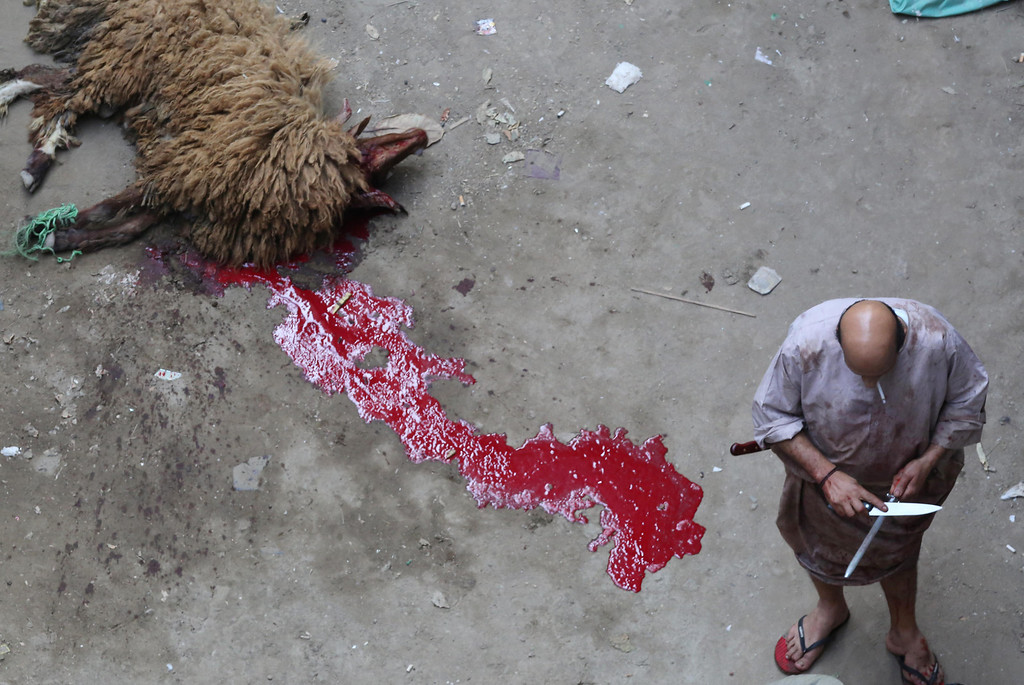 . A butcher sharpens his knife after killing a ram as part of Eid al-Adha celebrations on Tuesday, Oct. 15, 2013. (AP Photo/Jon Gambrell)