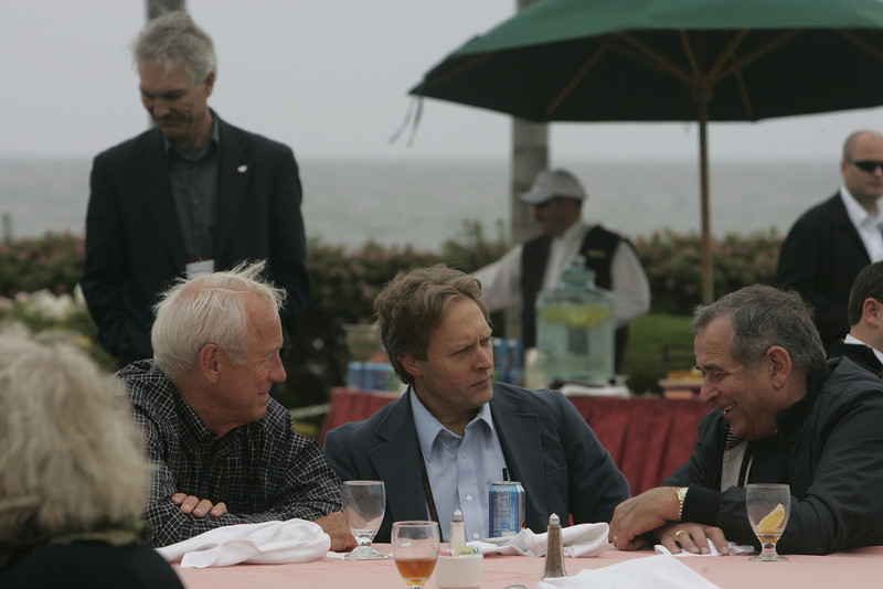 Lunch on the Windsor Lawn: (L-R) Bill Budinger, David Engle (background), Scott Wiedeman, and Hugh Bradlow