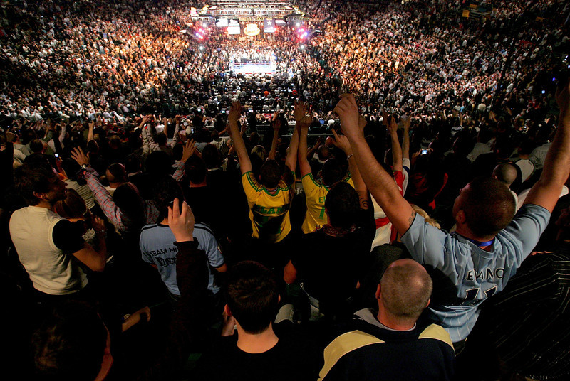 . Fans of Ricky Hatton of England cheer him on before his bout against Floyd Mayweather Jr. during their WBC world welterweight championship fight at the MGM Grand Garden Arena on December 8, 2007 in Las Vegas, Nevada.  (Photo by Ethan Miller/Getty Images)