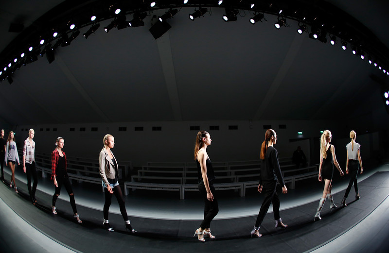 . Models on the runway ahead of the H By Hakaan Yildirim show at London Fashion Week Spring Summer 2015 at Somerset House on September 16, 2014 in London, England.  (Photo by Tristan Fewings/Getty Images for IMG Fashion)