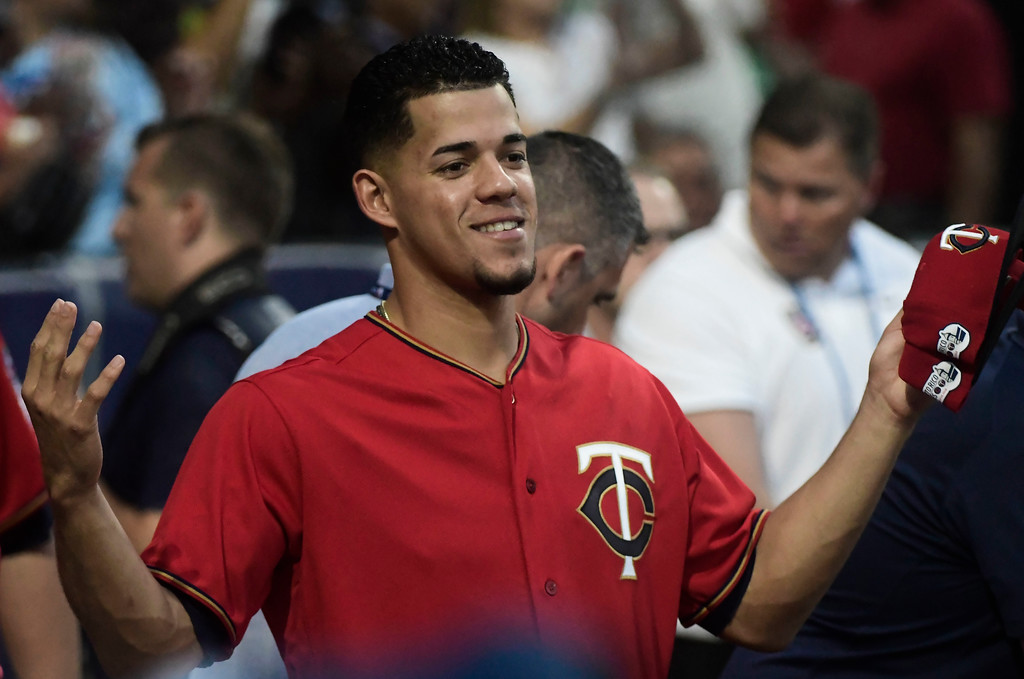 . CORRECTS RIVAL TEAM TO CLEVELAND INDIANS - Minnesota Twins starting pitcher Jose Berrios poses for a picture before game one of a two-game MLB Series against the Cleveland Indians at Hiram Bithorn Stadium in San Juan, Puerto Rico, Tuesday, April 17, 2018. (AP Photo/Carlos Giusti)