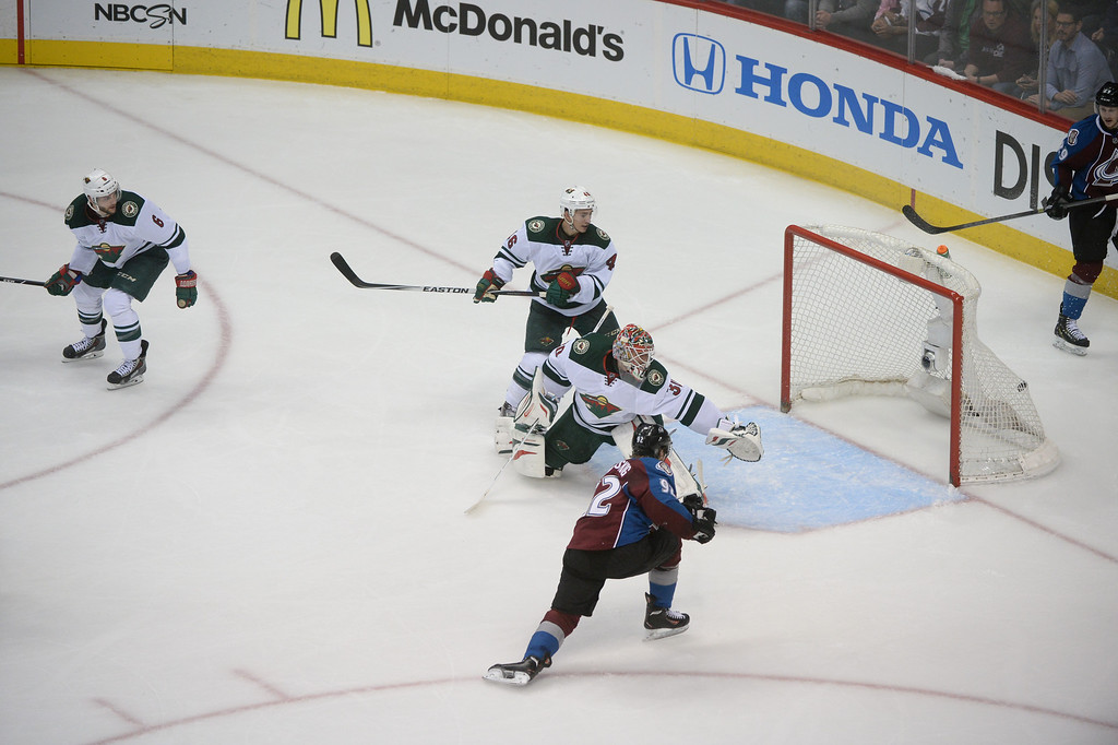 . Gabriel Landeskog (92) of the Colorado Avalanche scores a second goal during the second period of action. (Photo by Karl Gehring/The Denver Post)