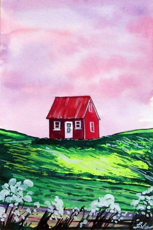 """""""Iceland"""" (gouache) by Sidra Hassan-Brown"""