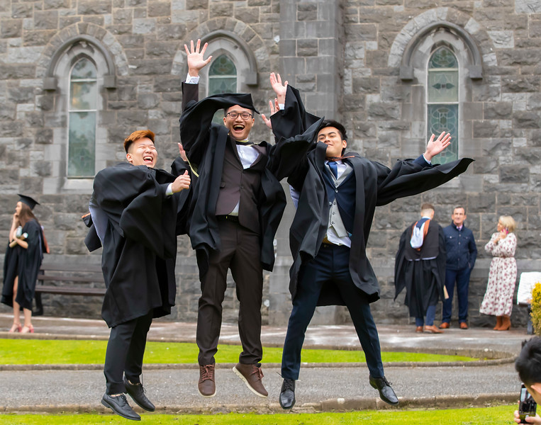 30/10/2019. Waterford Institute of Technology (WIT) Conferring Ceremonies. Waterford Institute of Technology (WIT) Conferring Ceremonies. Pictured are Kee Shan Chung , Khor Cho Hon, Tan Chee Ming from Malaysia who graduated BA Hons in International Management. Picture: Patrick Browne