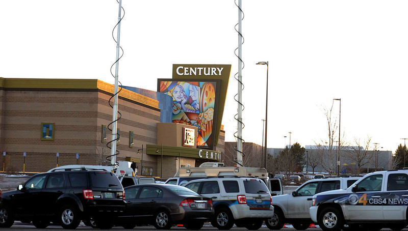 . AURORA, CO. - JANUARY 17: The Century Aurora viewed from the media parking lot on the day it was set to reopen  to the public, January 17, 2013. The theatre has been closed since the July shooting that left 12 dead 70 injured. (Photo By Steve Nehf / The Denver Post)