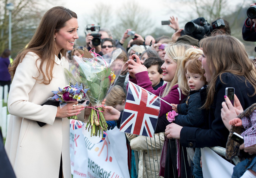 . Catherine, Duchess of Cambridge meets members of the public as she visits the offices of Child Bereavement UK on March 19, 2013 in Saunderton, Buckinghamshire.  (Photo by Paul Edwards - WPA Pool/Getty Images)