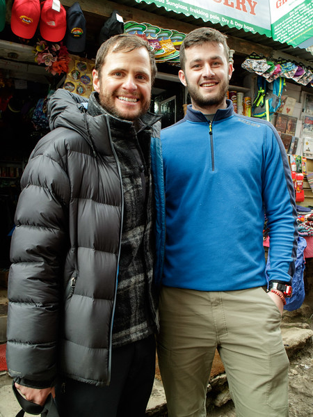 In Namche Bazaar we met Irish climber John burke, he and his team summited Everest on May 17th.   John (left), with Jack from our team