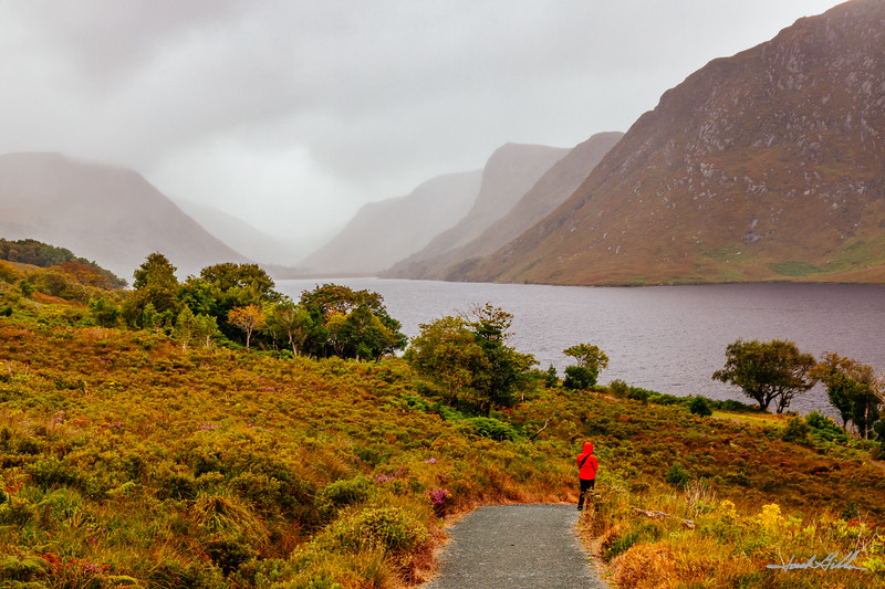 Walking on a path at Lough Veagh