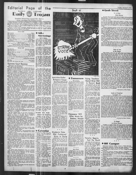 Daily Trojan, Vol. 27, No. 59, January 07, 1936