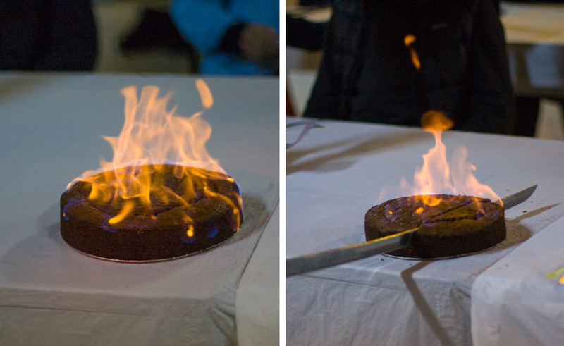 There was also a flaming persimmon cake.