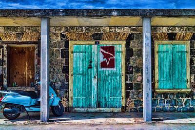 Parked Scooter, Gustavia, St. Barthélemy (CP-150-2014-03-10)