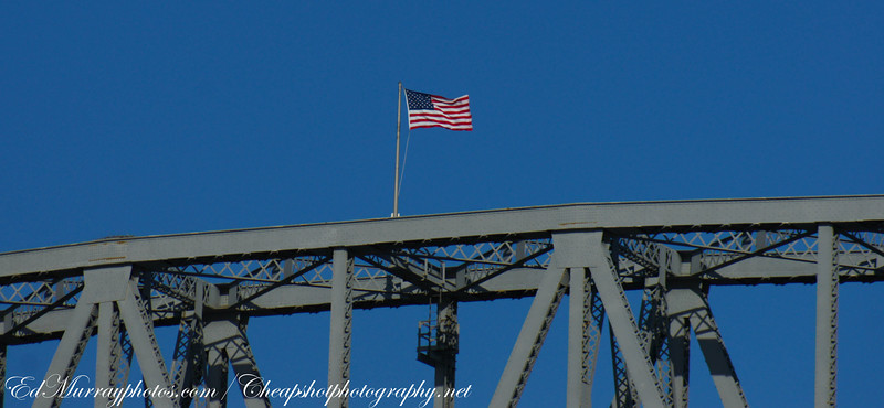 High Flying Flag: This is the flag which flys atop the main span of the Cape Cod Canal Bridge (260 feet above the water). I want to know who the pyscho was that had to put it up there. Thank you for all your comments and visits this week! I do appreciate it! Have a great weekend - I'll see you all on Monday!
