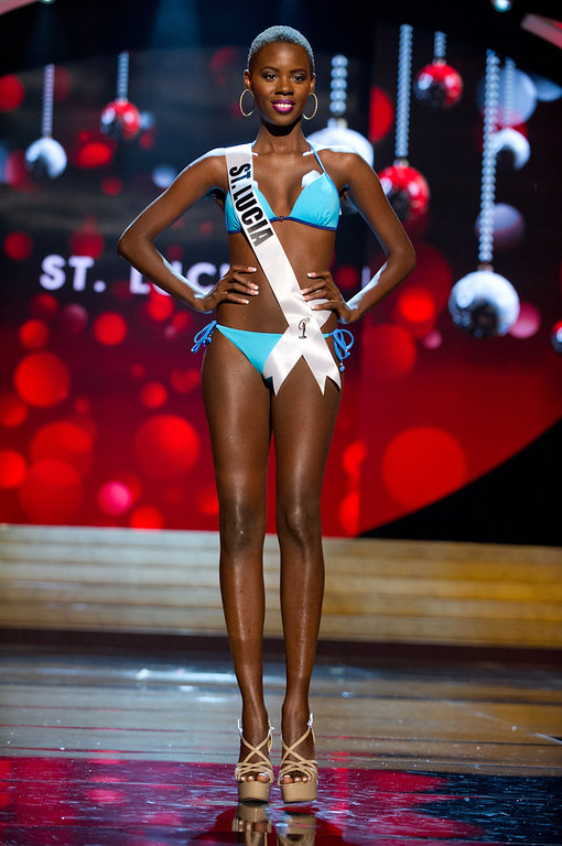 . Miss St. Lucia 2012, Tara Edward, competes during the Swimsuit Competition of the 2012 Miss Universe Presentation Show on Thursday, Dec. 13, 2012 at PH Live in Las Vegas. The 89 Miss Universe Contestants will compete for the Diamond Nexus Crown on December 19.  (AP Photo/Miss Universe Organization L.P., LLLP)