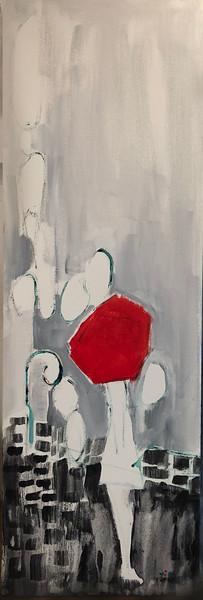 Jeune fille au parapluie rouge 12 X 36 Acrylic