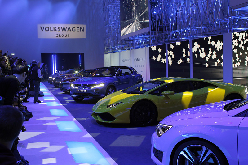 . The new Lamborghini Huracan, in yellow, during a preview show of Volkswagen Group, as part of the 84th Geneva International Motor Show, Switzerland, Monday, March 3, 2014. The Motor Show will open its gates to the public from March 6 to 16. (AP Photo/Laurent Cipriani)