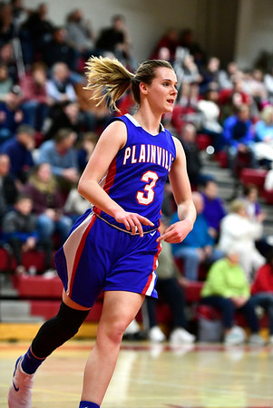 2/26/2019 Mike Orazzi | Staff Plainvilles Caitlin Barker (3) during the CIAC 2019 State Girls Basketball Tournament at Berlin High School Tuesday night.