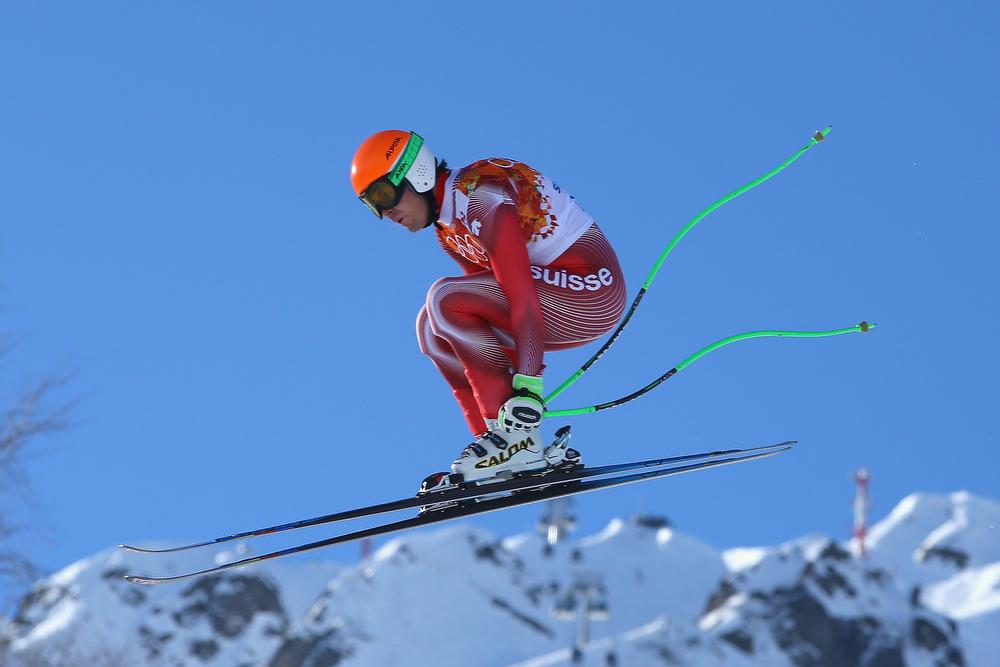 . Sandro Viletta of Switzerland competes during the Alpine Skiing Men\'s Super Combined Downhill on day 7 of the Sochi 2014 Winter Olympics at Rosa Khutor Alpine Center on February 14, 2014 in Sochi, Russia.  (Photo by Doug Pensinger/Getty Images)