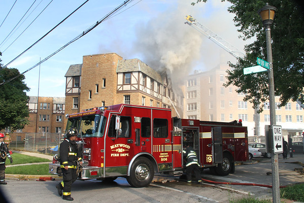 MAYWOOD, IL 3RD ALARM FIRE 3RD & PINE 4 STORY VACANT NURSING HOME UNDER RENTOVATION (08-10-2011)
