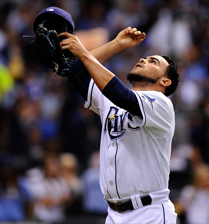 . Alex Torres #54 of the Tampa Bay Rays reacts after striking out Daniel Nava #29 of the Boston Red Sox in the sixth inning during Game Four of the American League Division Series at Tropicana Field on October 8, 2013 in St Petersburg, Florida.  (Photo by Brian Blanco/Getty Images)