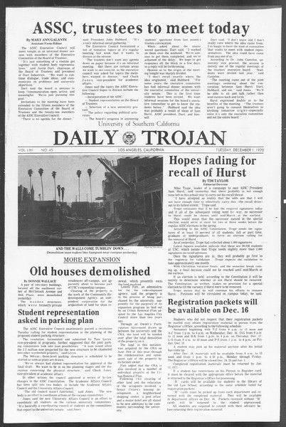 Daily Trojan, Vol. 62, No. 45, December 01, 1970