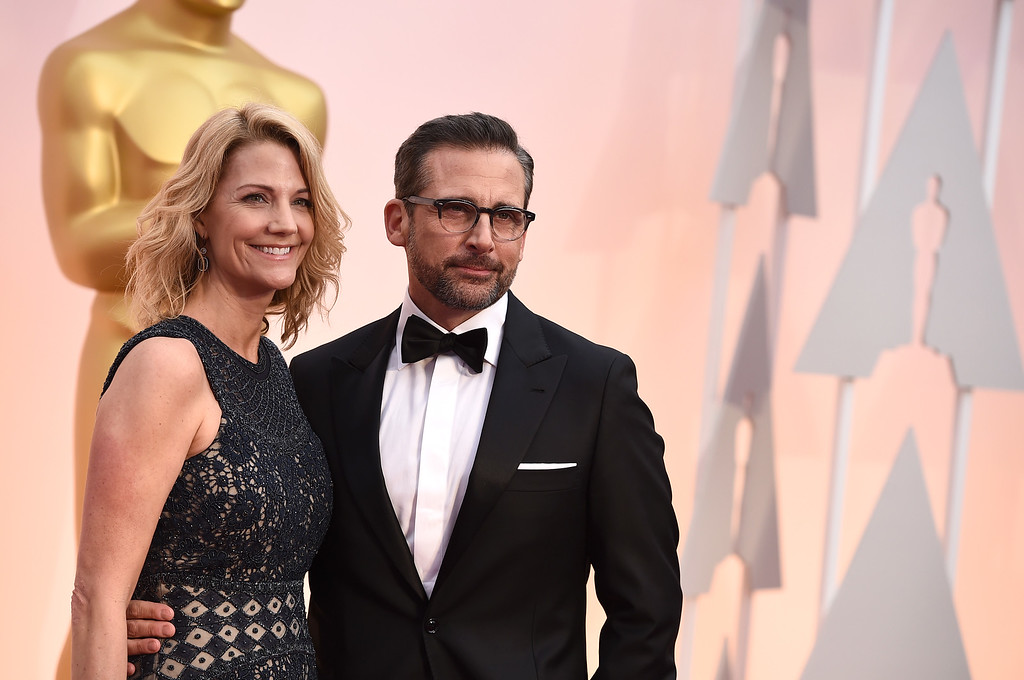 . Steve Carell, right, and Nancy Carell arrive at the Oscars on Sunday, Feb. 22, 2015, at the Dolby Theatre in Los Angeles. (Photo by Jordan Strauss/Invision/AP)