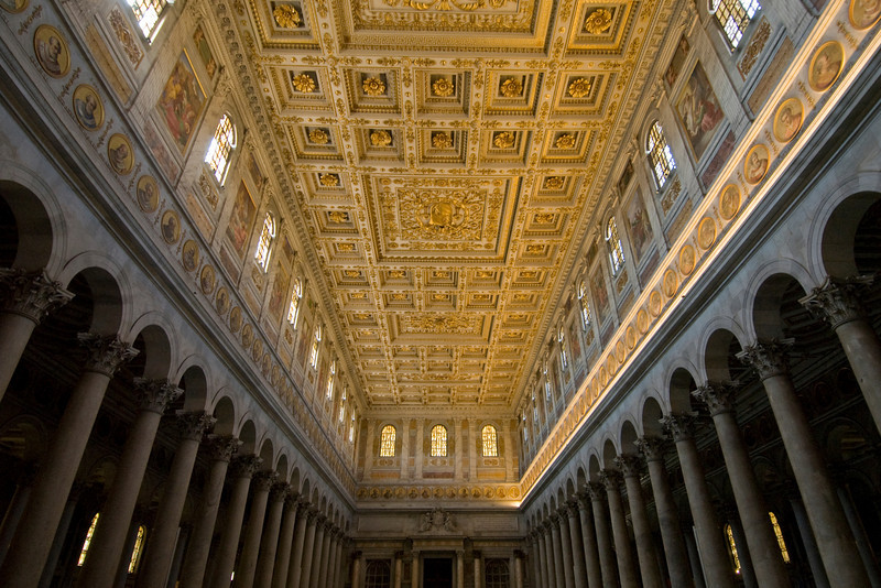 Ornate ceiling inside St. Paul's Basilica in Rome, Italy