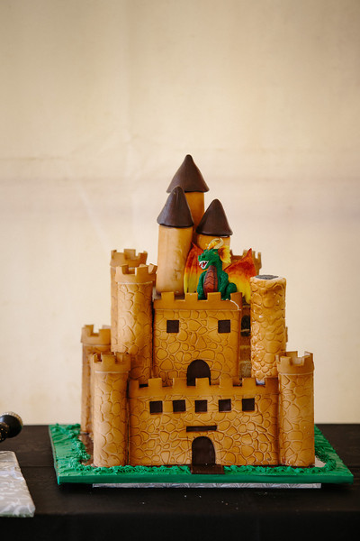 Castle wedding cake with added Dragon!