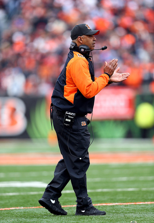 . Head coach Marvin Lewis of the Cincinnati Bengals reacts against the San Diego Chargers during a Wild Card Playoff game at Paul Brown Stadium on January 5, 2014 in Cincinnati, Ohio.  (Photo by Andy Lyons/Getty Images)