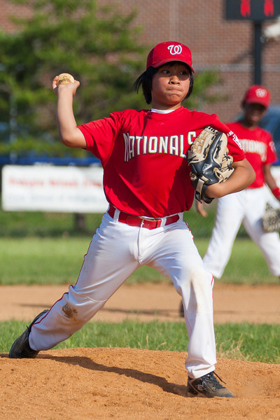 Alex pitching in the top of the 6th inning. The Nationals struggled on both offense and defense in a 2-11 loss to the Orioles. They are now 7-4 for the season. 2012 Arlington Little League Baseball, Majors Division. Nationals vs Orioles (19 May 2012) (Image taken by Patrick R. Kane on 19 May 2012 with Canon EOS-1D Mark III at ISO 400, f4.0, 1/2500 sec and 175mm)