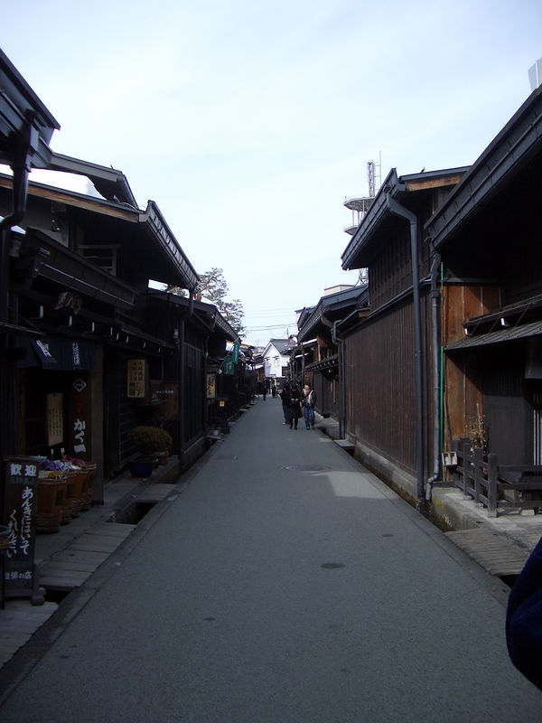 Old street lined with trinket shops (japanese people love trinkets and snacks, called O Miyage) in Takayama