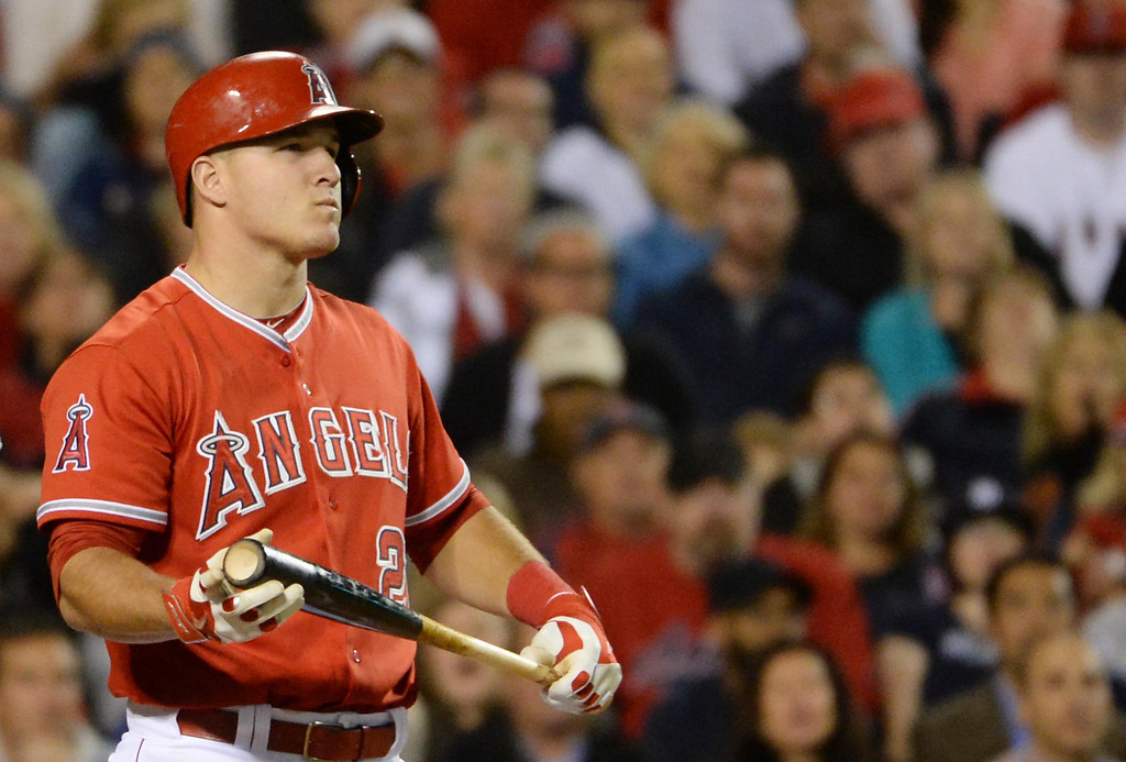 . Los Angeles Angels\' Mike Trout looks toward the score board after striking out swinging in the fifth inning of a baseball game against the New York Yankees at Anaheim Stadium in Anaheim, Calif., on Tuesday, May 6, 2014.  (Keith Birmingham Pasadena Star-News)