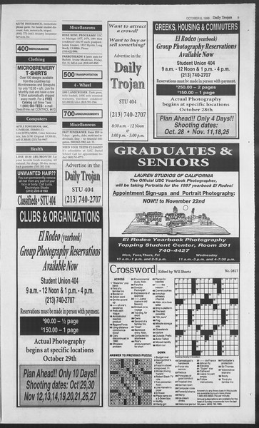 Daily Trojan, Vol. 129, No. 28, October 08, 1996