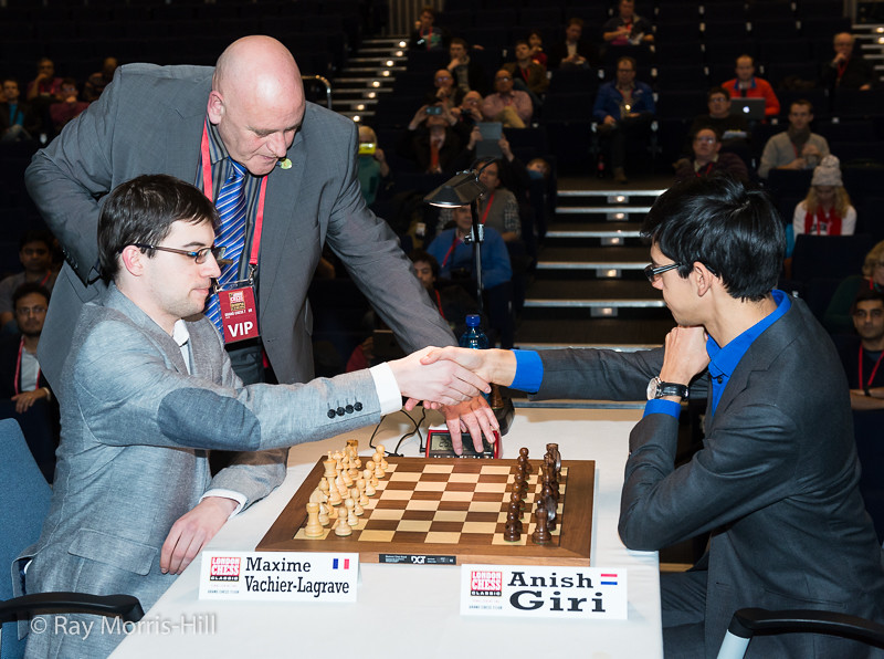 Game 1 of the semi-final play-off: Maxime Vachier-Lagrave vs Anish Giri