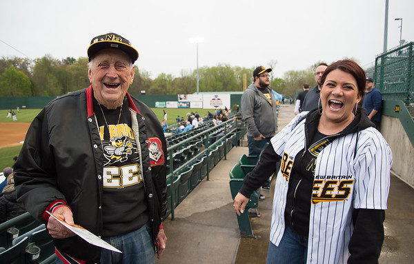 05/03/19 Wesley Bunnell | Staff The New Britain Bees home opener vs the Somerset Patriots on Friday night at New Britain Stadium. Longtime New Britain season ticket holder Al Nelson enjoys a laugh with New Britain Mayor Erin Stewart before the game.