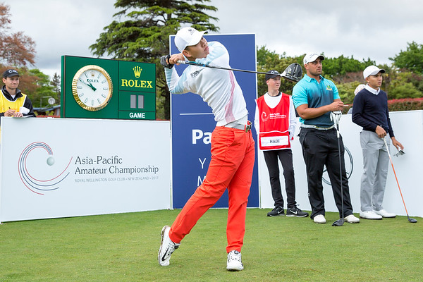 Guan Tianlang from China hitting off the 1st tee on Day 1 of competition in the Asia-Pacific Amateur Championship tournament 2017 held at Royal Wellington Golf Club, in Heretaunga, Upper Hutt, New Zealand from 26 - 29 October 2017. Copyright John Mathews 2017.   www.megasportmedia.co.nz