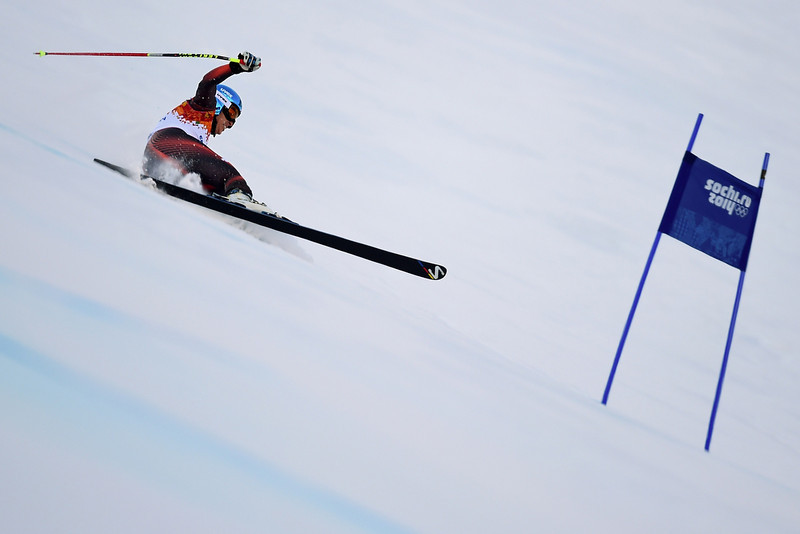 . Spain\'s Carolina Ruiz Castillo competes during the Women\'s Alpine Skiing Super-G at the Rosa Khutor Alpine Center during the Sochi Winter Olympics on February 15, 2014.  (FABRICE COFFRINI/AFP/Getty Images)