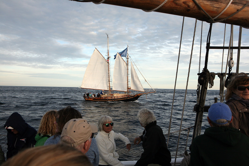 AMY SWEENEY/Staff photo. The Schooner Thomas E. Lannon took a sail out to watch the start of the Rendez-Vous 2017 Tall Ships Regatta to Canada, off the coast of Rockport.