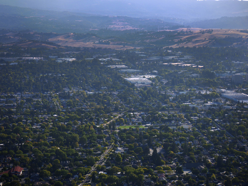 Palo Alto, CA with the Oregon Expressway going away from our vantage point.