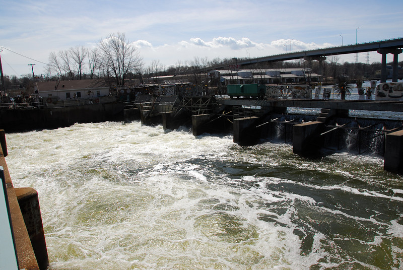 Strong current at Fox River in Appleton, Wisconsin