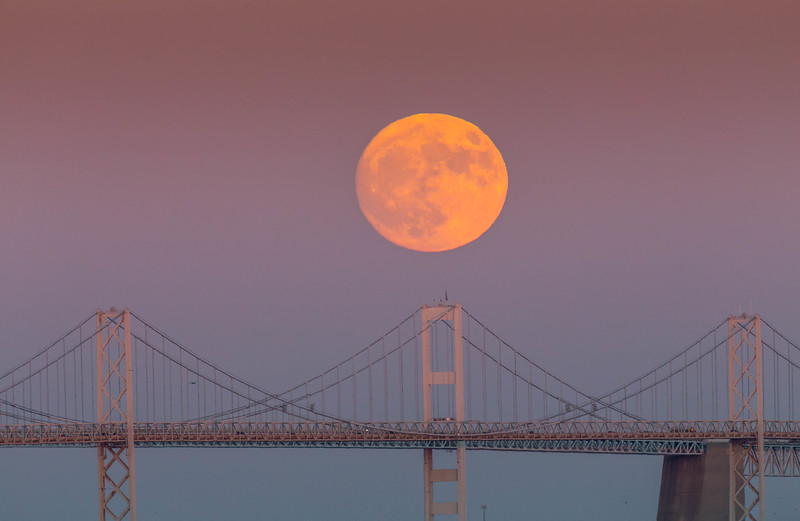 Supermoon Over the Chesapeake Bay Bridge 2016