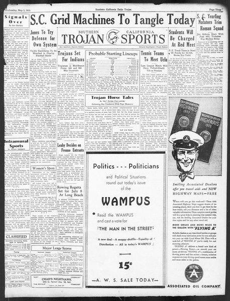 Daily Trojan, Vol. 24, No. 135, May 03, 1933