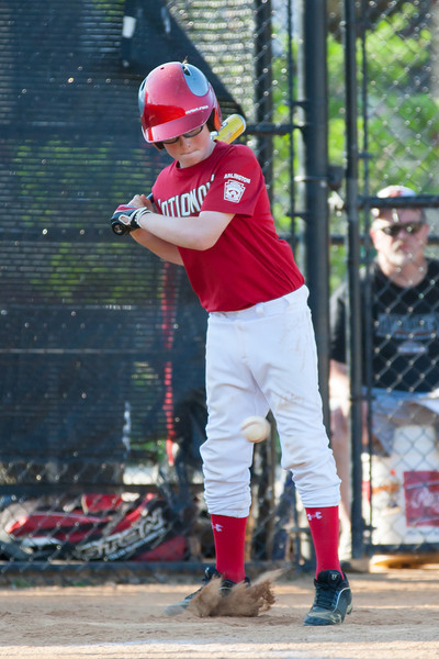 Christopher at bat in the top of the 3rd inning. The Nationals played a close game against the Orioles before pulling away in the top of the 6th inning for a 5-2 win. They finished the regular season with a 12-6 record. 2012 Arlington Little League Baseball, Majors Division. Nationals vs Orioles (09 Jun 2012) (Image taken by Patrick R. Kane on 09 Jun 2012 with Canon EOS-1D Mark III at ISO 800, f4.0, 1/1250 sec and 265mm)