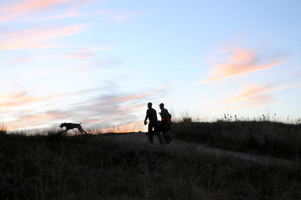 . A trio of tired hunters heads home as the sun sets over the eastern plains on opening day of pheasant season, Saturday, November 9, 2013.
