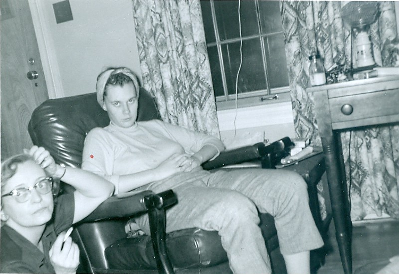 Cleabelle Dobbins (in chair) with an unknown friend.