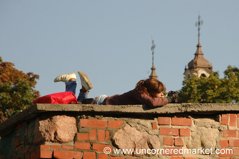 Reading on Old Town Wall - Vilnius, Lithuania