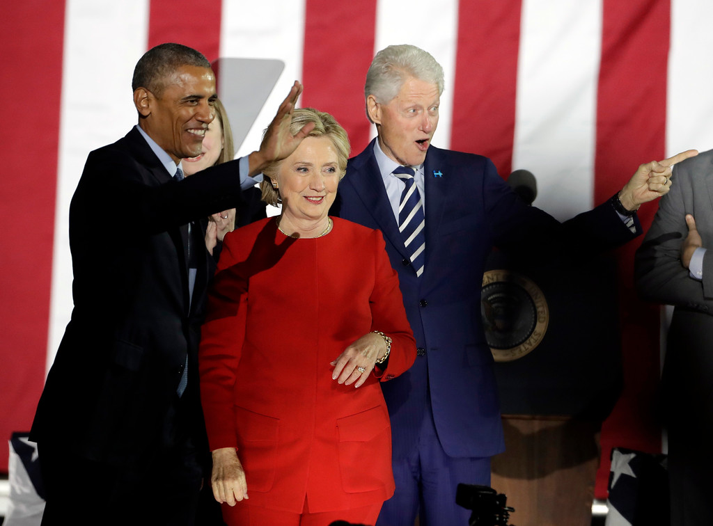 . President Barack Obama, Democratic presidential candidate Hillary Clinton and former President Bill Clinton acknowledge the crowd during a campaign event at Independence Mall on Monday, Nov. 7, 2016 in Philadelphia. (AP Photo/Matt Slocum)