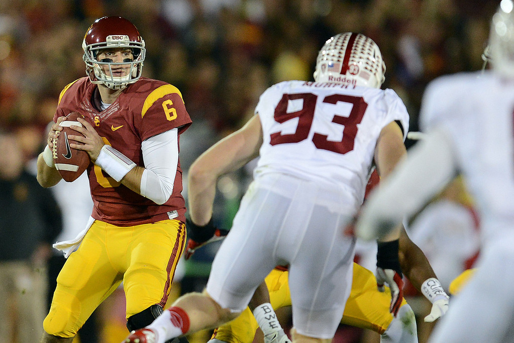 . USC�s Cody Kessler #6 looks to pass during their game against Stanford at the Los Angeles Memorial Coliseum Saturday, November 16, 2013. (Photos by Hans Gutknecht/Los Angeles Daily News)